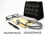 close up of stethoscope  paper... | Shutterstock . vector #1093059455