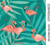 flamingo bird and tropical... | Shutterstock .eps vector #1093064825