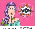 wow pop art surprised woman... | Shutterstock .eps vector #1093075364