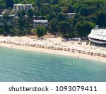 aerial view on the beach with... | Shutterstock . vector #1093079411