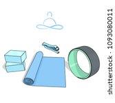 yoga props  blocks  mat  strap... | Shutterstock .eps vector #1093080011