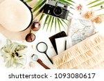 traveler accessories on white... | Shutterstock . vector #1093080617