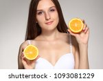 young happy girl posing with... | Shutterstock . vector #1093081229