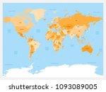 world map atlas. colored... | Shutterstock .eps vector #1093089005