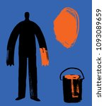 man with orange paint hand and... | Shutterstock .eps vector #1093089659