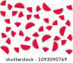 red watermelon slice vector... | Shutterstock .eps vector #1093090769