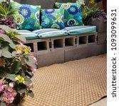 cinder block patio bench with...   Shutterstock . vector #1093099631