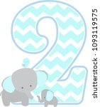 number 2 with cute elephant and ... | Shutterstock .eps vector #1093119575