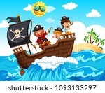 A Pirate And Happy Kids On Boat ...