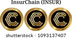 set of physical golden coin... | Shutterstock .eps vector #1093137407