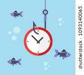 clock on fishing hook and... | Shutterstock .eps vector #1093140065