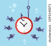 clock on fishing hook and... | Shutterstock .eps vector #1093140071