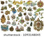 set with nautical icons... | Shutterstock . vector #1093148045