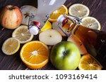 homemade kombucha with fruits.... | Shutterstock . vector #1093169414