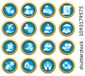 insurance icons set. simple... | Shutterstock .eps vector #1093179575
