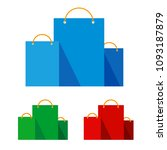 group of bright flat shopping... | Shutterstock .eps vector #1093187879