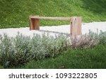 wooden bench in rock garden ...   Shutterstock . vector #1093222805