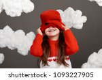 girl playing with clouds ... | Shutterstock . vector #1093227905
