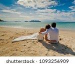 the bride and groom in wedding... | Shutterstock . vector #1093256909