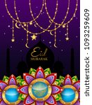 eid mubarak greeting background ... | Shutterstock . vector #1093259609