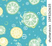 fruit pattern with lemon and... | Shutterstock .eps vector #1093263635