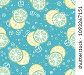fruit pattern with lemon and... | Shutterstock .eps vector #1093267151