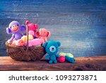 amigurumi toys on a wooden...   Shutterstock . vector #1093273871