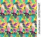 tropical pattern with exotic... | Shutterstock .eps vector #1093294487