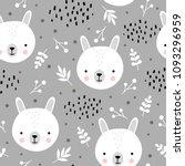 cute rabbit seamless pattern ...   Shutterstock .eps vector #1093296959