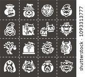 vector jack o lantern icon set | Shutterstock .eps vector #1093313777