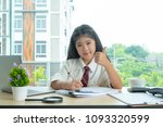 cute girl sitdown smiled and... | Shutterstock . vector #1093320599