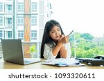cute girl sitdown look up and... | Shutterstock . vector #1093320611