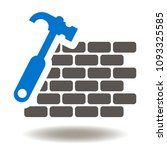 bricks wall hammer icon vector. ... | Shutterstock .eps vector #1093325585