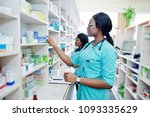 two african american pharmacist ...   Shutterstock . vector #1093335629