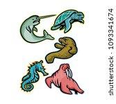 mascot icon illustration set of ... | Shutterstock .eps vector #1093341674
