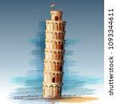 vector illustration of leaning... | Shutterstock .eps vector #1093344611