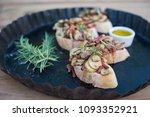 mushroom   bacon bruschetta | Shutterstock . vector #1093352921