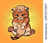 cute kitten  pet cat. comic... | Shutterstock .eps vector #1093372607