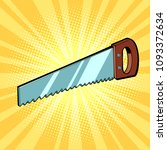 hand saw tool. comic book... | Shutterstock .eps vector #1093372634