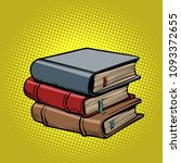 stack of old books. comic book... | Shutterstock .eps vector #1093372655