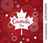 maple leaf with firework poster ... | Shutterstock .eps vector #1093394459