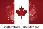 maple leaf with firework poster ... | Shutterstock .eps vector #1093394465