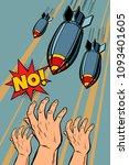 antiwar protest  stop bomb war. ... | Shutterstock .eps vector #1093401605