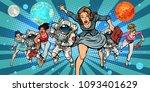 women and astronauts running...   Shutterstock .eps vector #1093401629