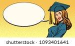 woman graduate pop art retro...   Shutterstock .eps vector #1093401641