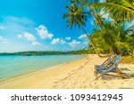 chair on the beautiful tropical ... | Shutterstock . vector #1093412945