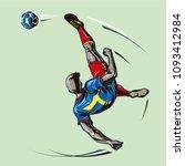 soccer player overhead kick  | Shutterstock .eps vector #1093412984