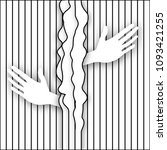 hands emerge from a lined... | Shutterstock . vector #1093421255
