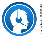 headset contact icon   blue... | Shutterstock .eps vector #109345709