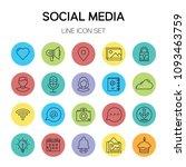 social media line icon   Shutterstock .eps vector #1093463759
